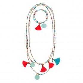 Collier Et Bracelet Pompons Fantastiques